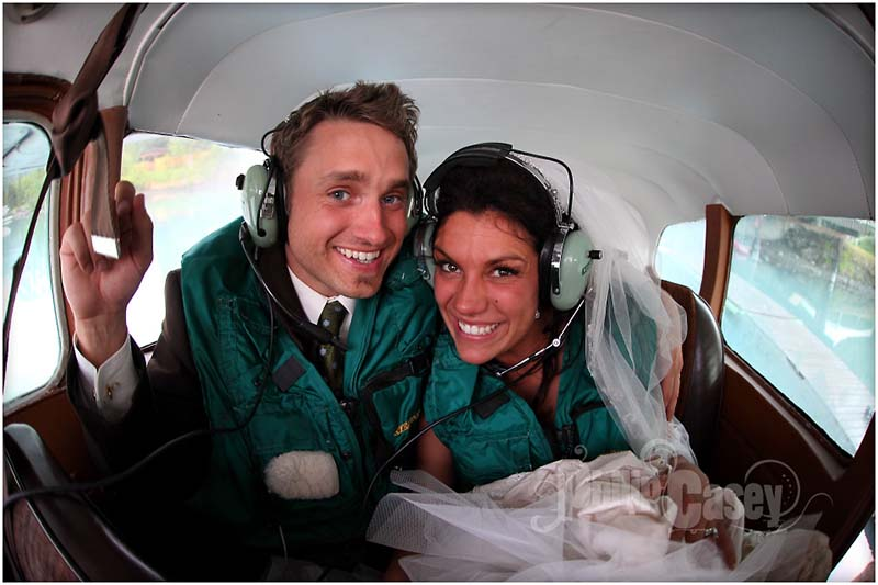Bride and Groom in seaplane.