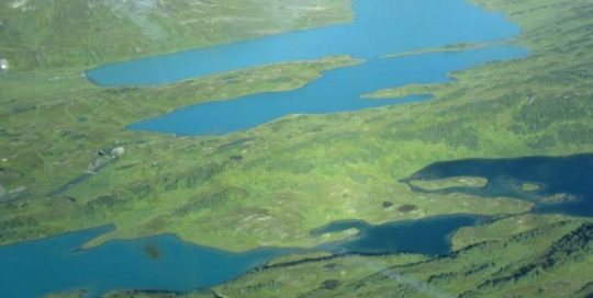 Aerial view of Alaskan islands.