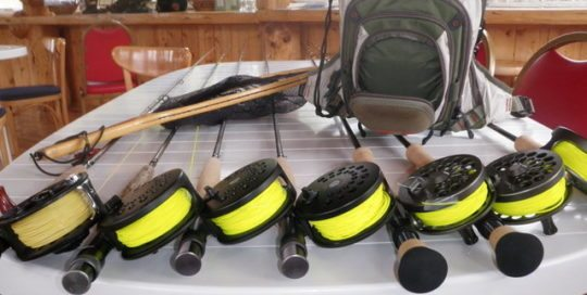 Fishing rods and supply bag.
