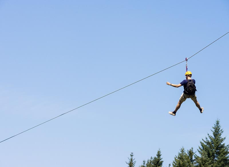 person on zipline.